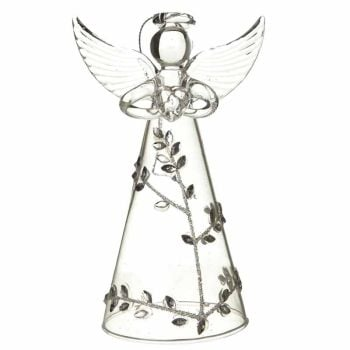 Glass Silver Leaf Design Clear Angel - 11cm tall