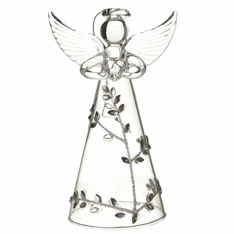 Glass Silver Leaf Design Clear Angel - 11cm tall