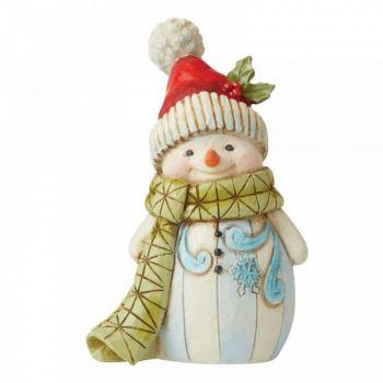 Jolly Snowman figurine by Jim Shore - 9.5cm tall x 6 wide x 4 deep.