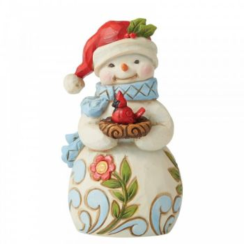 Snowman with Bird figurine by Jim Shore - 9.5cm tall x 5.5 wide x 4 deep.