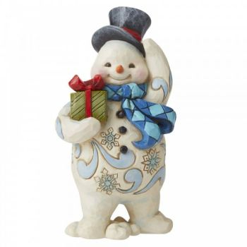 Jolly Walking Snowman with Gift figurine by Jim Shore - 11.5cm tall x 7 wide x 5.5 deep.