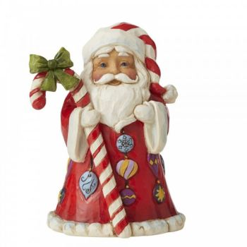 Santa with Candy Cane Figurine by Jim Shore's Heartwood Creek - 9cm tall x 6.5 wide x 5 deep.
