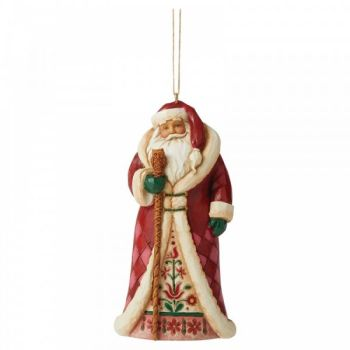 Regal Santa hanging ornament by Jim Shore - 11.5cm tall x 6cm wide x 4cm deep