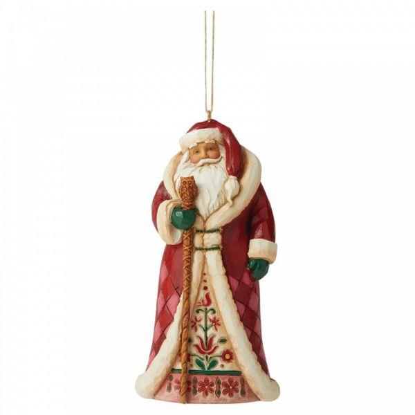 Regal Santa hanging ornament by Jim Shore - 11.5cm tall x 6cm wide x 4cm de