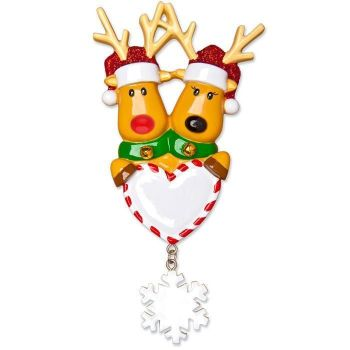 Reindeer Couple with Heart Christmas ornament