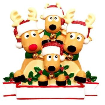 Reindeer family of 4 Christmas ornament