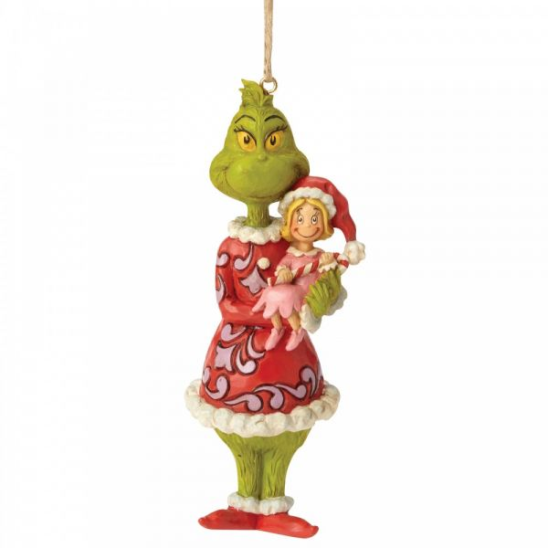 The Grinch holding Cindy Lou Hanging Ornament by Jim Shore - 12.5cm tall x