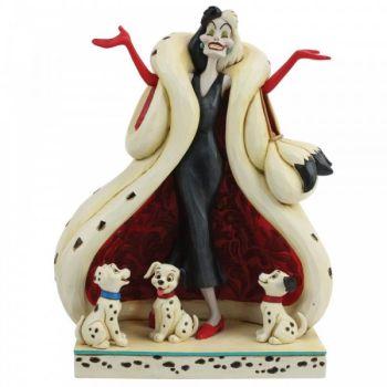 101 Dalmations Cruella De Vil 'The Cute & The Cruel' Figurine by Jim Shore - 21cm H x 16.5 W x 11 D