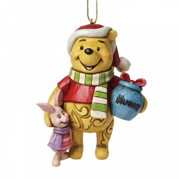 Winnie the Pooh & Piglet hanging decoration by Jim Shore - 9cm High x 7cm d