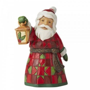 Santa with Lantern Figurine by Jim Shore's Heartwood Creek - 9cm tall x 6.5 wide x 5 deep.