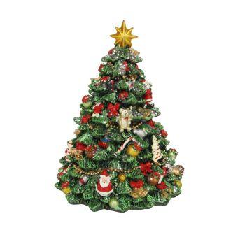 Revolving Christmas Tree Music Box - 16cm tall x 11.5cm diameter.