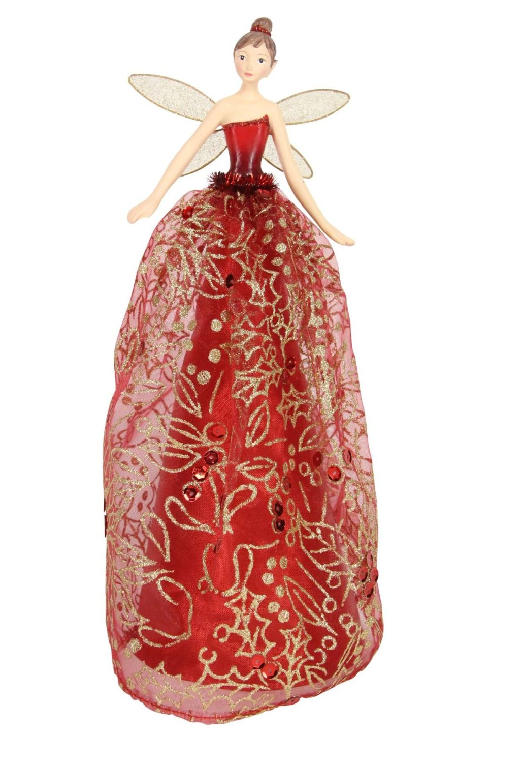 Large Red & Gold Tree Top Fairy - 28cm