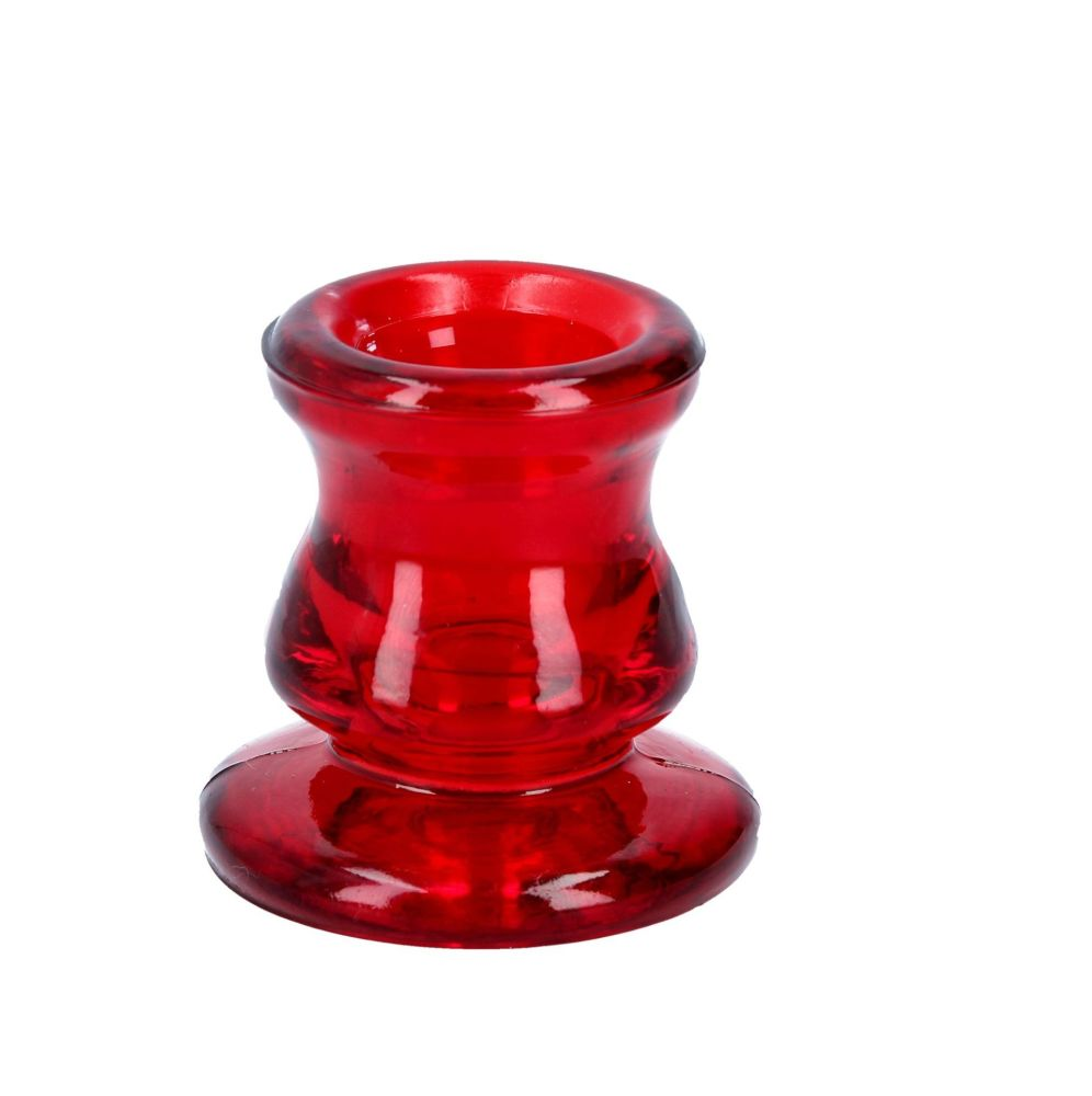 Luxurious Red Advent or Dinner Candle Holder - 6cm tall x 5.5cm diameter