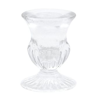 Beautiful Clear Advent or Dinner Candle Holder - 6cm tall x 5.5cm diameter