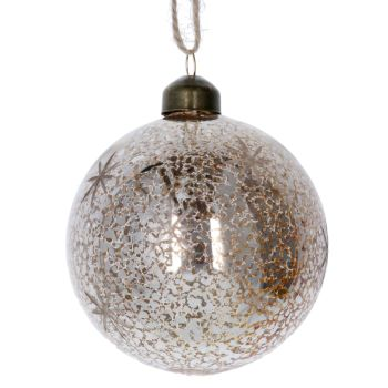Beautiful Antiqued Gold Glass Bauble with Stars - 8cm