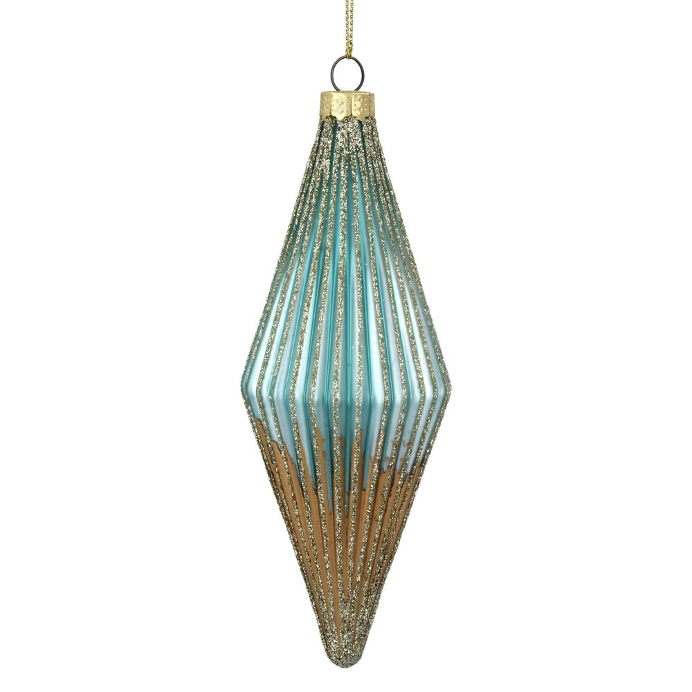 Turquoise & Gold Droplet Glass Bauble - 16cm x 5cm dia.