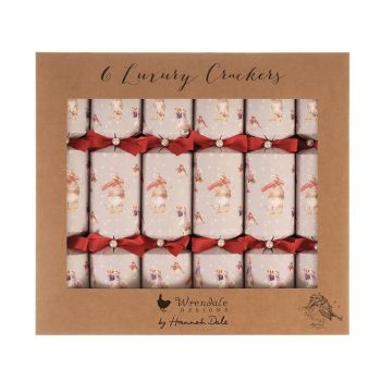 Six Beautiful 'Christmas Scarves' Luxury Crackers by Wrendale. 355.6mm long x 65 diameter,