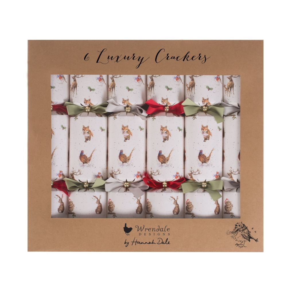 Six Beautiful 'Woodland Animals' Luxury Crackers by Wrendale. 355.6mm long