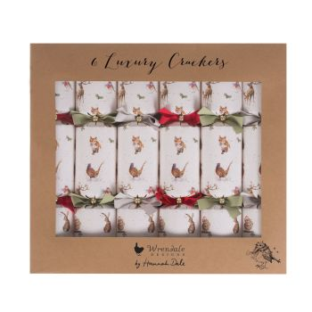 Six Beautiful 'Woodland Animals' Luxury Crackers by Wrendale. 355.6mm long x 65 diameter,