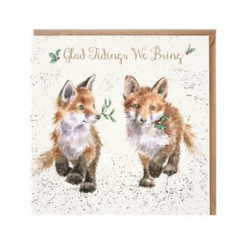 'Glad Tidings We Brings' Fox Cub Christmas Card - 15cm x 15cm