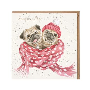 'Snug as a Pug' Pugs wrapped in scarves  with woolly hats Christmas Card - 15cm x 15cm