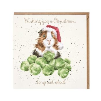 'Sprouts' Greedy Guinea Pig Christmas Card by Wrendales Hannah Dale - 15cm x 15cm