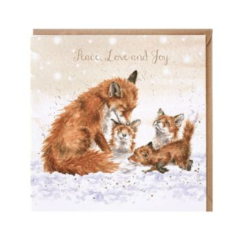 'Peace, Love & Joy' Fox & Cubs Christmas Card by Wrendales Hannah Dale - 15cm x 15cm