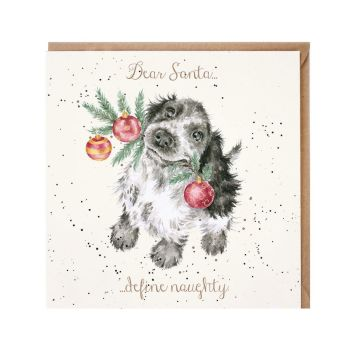 'Dear Santa....Define Naughty' Springer Cocker Spaniel Dog Christmas Card by Wrendales Hannah Dale - 15cm x 15cm