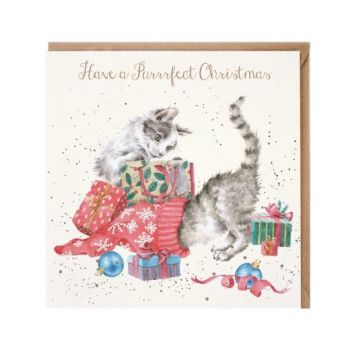 'Have a Purrrfect Christmas' Cats Playing Christmas Card by Wrendales Hannah Dale - 15cm x 15cm