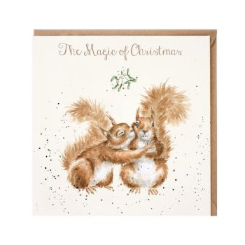 'The Magic of Christmas' Red Squirrel Christmas Card by Wrendales Hannah Dale - 15cm x 15cm