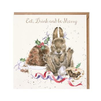 'Eat, Drink, & Be Merry' Rabbit Christmas Card by Wrendales Hannah Dale - 15cm x 15cm