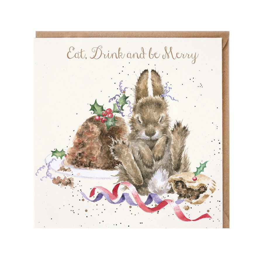 'Eat, Drink, & Be Merry' Rabbit Christmas Card by Wrendales Hannah Dale - 1