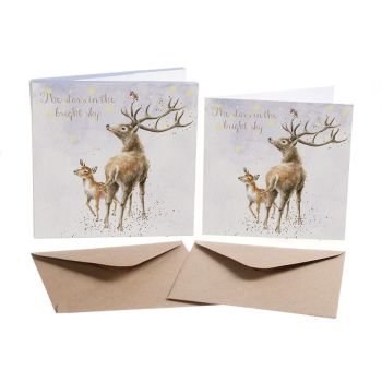 'The Stars in the Bright Sky' Pack of 8 luxury gold foiled cards and envelopes - 12cm x 12cm