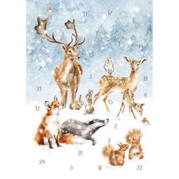 'A Winter Wonderland' Woodland Animals Advent Calendar Card by Wrendale - 210mm x 158mm