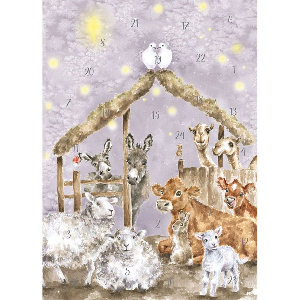 'Away in a Manger' Christmas Animals in a barn Advent Calendar Card by Wren