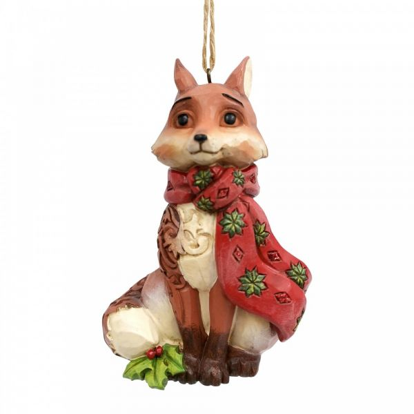 Christmas Fox figurine by Jim Shore - 10cm tall x 5 wide x 6.5 deep.