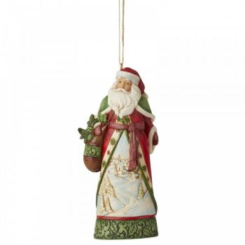Winter Scene Santa hanging ornament by Jim Shore - 11.5cm tall x 5.5cm wide x 4cm deep