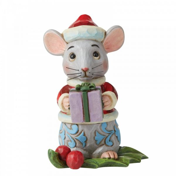 Christmas Mouse figurine by Jim Shore - 9cm tall x 6.5 wide x 7.5 deep.