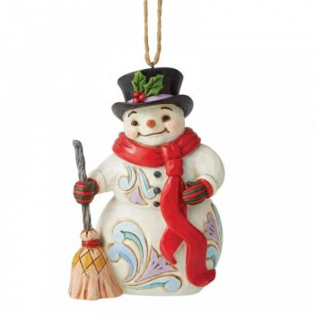Snowman with Long Scarf & Broom by Jim Shore hanging or standing ornament- 12cm tall x 8cm wide x 5cm deep