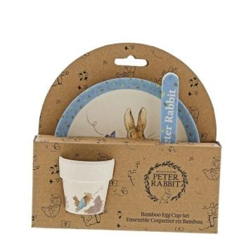 Peter Rabbit Babies Dinner Set - Plate, Egg Cup & Spoon - Made from Bamboo.