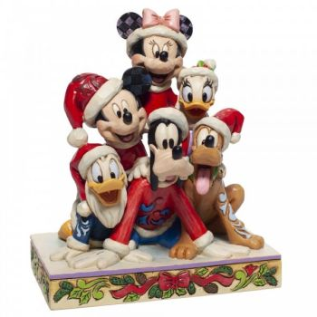 'Piled High with Christmas Cheer' Mickey Mouse & Friends. Pluto, Minnie Mouse, Donald Duck, Goofy - 15cm h x 9cm w x 13 d