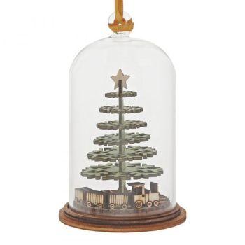 'Childhood Memories' Christmas Tree & Train Kloche Bauble - 8.5cm high x 5cm diameter.