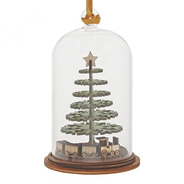 'Childhood Memories' Christmas Tree & Train Kloche Bauble - 8.5cm high x 5c