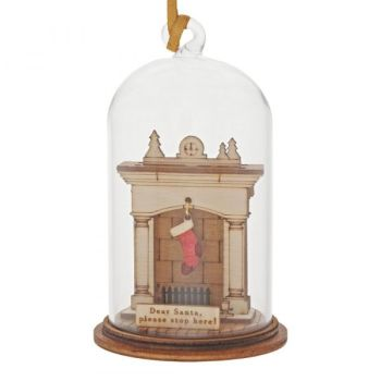 'Dear Santa Please Stop Here' Christmas Fireplace Kloche Bauble - 8.5cm high x 5cm diameter.