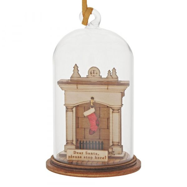 'Santa Please Stop Here' Christmas Fireplace Kloche Bauble - 8.5cm high x 5