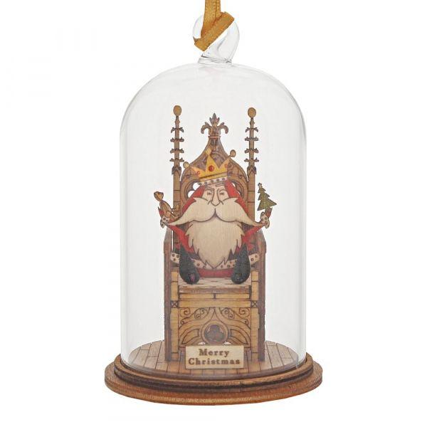 'A King is Born' Father Christmas Santa Kloche Bauble - 8.5cm high x 5cm di