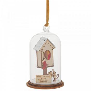 'Good Friends make Christmas Special' Robin & Mouse Kloche Bauble - 8.5cm high x 5cm diameter.