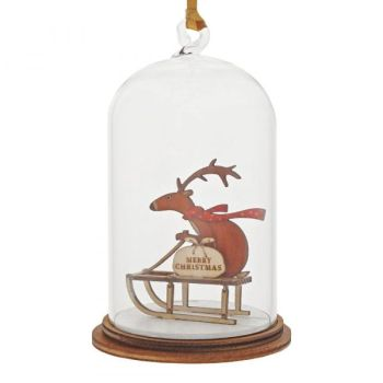'Special Delivery' Reindeer on a Sleigh Kloche Bauble - 8.5cm high x 5cm diameter.