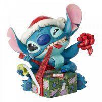 Stitch in Santa Hat 'Bad Wrap' Figurine - 13cm h x 14cm w x 15cm deep