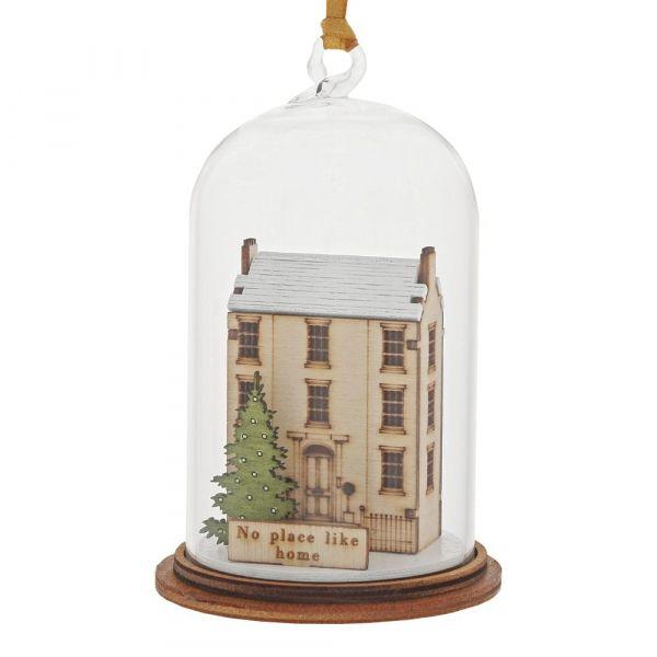 'No Place Like Home' House & Christmas Tree Kloche Bauble - 8.5cm high x 5c